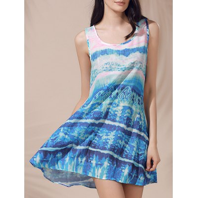 Casual Scoop Neck Printed Sleeveless Sun Dress For Women