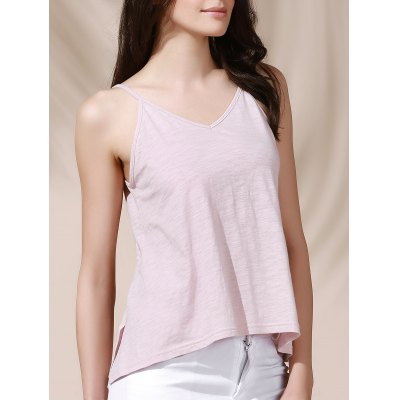 Casual Solid Color Backless Slit Cami Top For Women