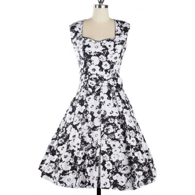 Vintage Floral Print Sleeveless Sweetheart Neck Dress