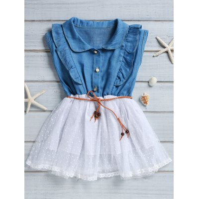 Sleeveless Flounced Polka Dot Spliced Denim Dress For Girl