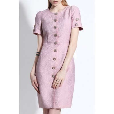 Button Up Sheath Jacquard Dress