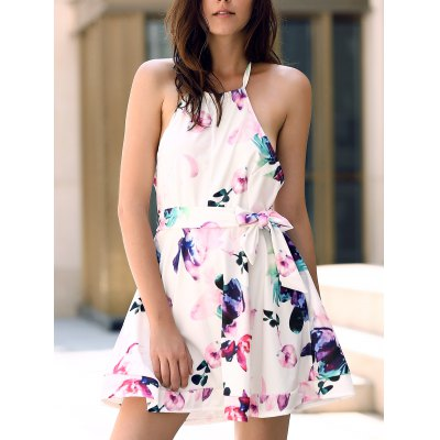 Halter Sleeveless Floral Print Backless Women's Dress
