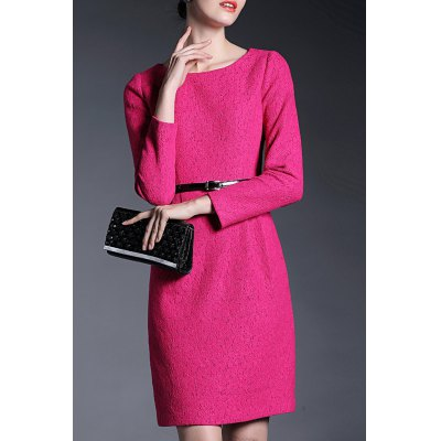 Round Collar Lace Rose Belted Dress