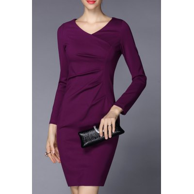 V Neck Ruched Solid Color Bodycon Dress