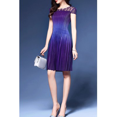 Pleated Lace Spliced Dress