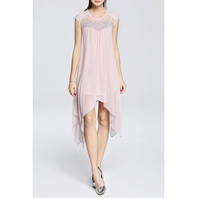 Faux Pearl Beading Handkerchief Dress