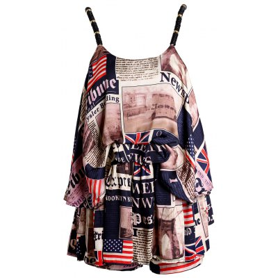 Spaghetti Strap Newspaper Print Top + Shorts Women's Twinset