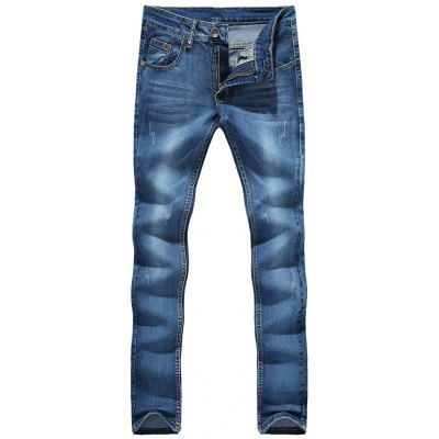 Zipper Fly Cat's Whisker Bleach Wash Embroidered Narrow Feet Slimming Jeans For Men
