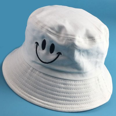 Smilling Face Embroidery Flat Top Bucket Hat For Men