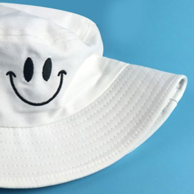 Stylish Smilling Face Embroidery Flat Top Bucket Hat For Men