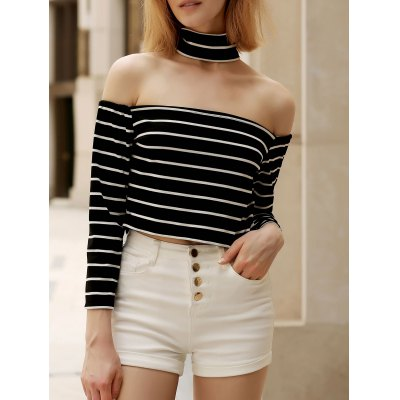 Chic Turtleneck Long Sleeve Striped Zippered Crop Top For Women