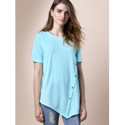 Trendy Round Collar Short Sleeve Button Design Asymmetrical Womens T-ShirtTees<br>Trendy Round Collar Short Sleeve Button Design Asymmetrical Womens T-Shirt<br><br>Material: Polyester<br>Clothing Length: Long<br>Sleeve Length: Short<br>Collar: Round Neck<br>Style: Casual<br>Season: Summer<br>Pattern Type: Solid<br>Weight: 0.400kg<br>Package Contents: 1 x T-Shirt