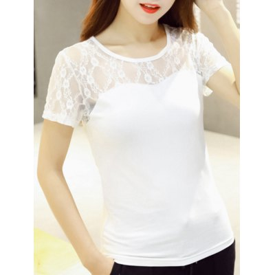 Scoop Neck Lace Patchwork See-Through Short Sleeves T-Shirt For Women