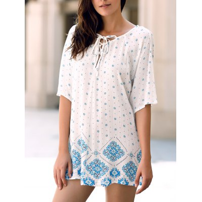 Jewel Neck Batwing Sleeve Flower Print High Low T-Shirt