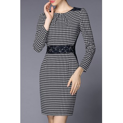 Houndstooth Round Collar Bodycon Dress
