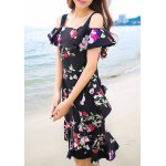 cheap Sweet Off-The-Shoulder Floral Print Women's Dress
