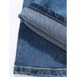Zipper Fly Cat's Whisker Bleach Wash Embroidered Narrow Feet Slimming Jeans For Men for sale
