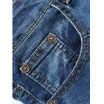 Zipper Fly Cat's Whisker Bleach Wash Embroidered Narrow Feet Slimming Jeans For Men deal