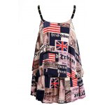 cheap Stylish Spaghetti Strap Newspaper Print Top + Shorts Women's Twinset