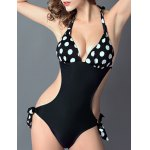 Stylish Halter Polka Dot Cut Out One-Piece Swimsuit For Women