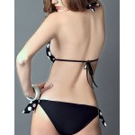 Stylish Halter Polka Dot Cut Out One-Piece Swimsuit For Women deal
