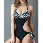 cheap Stylish Halter Zebra Print Cut Out One-Piece Swimsuit For Women