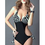 Stylish Halter Zebra Print Cut Out One-Piece Swimsuit For Women