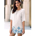 Casual Jewel Neck Batwing Sleeve Flower Print High Low T-Shirt For Women deal