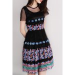 cheap Embroidery High Waist Dress