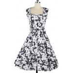 Vintage Floral Print Sleeveless Sweetheart Neck Women's Dress
