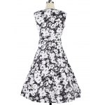 cheap Vintage Floral Knee Length Fit and Flare Dress