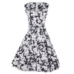 Vintage Floral Print Sleeveless Sweetheart Neck Women's Dress deal