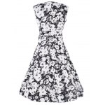 Vintage Floral Print Sleeveless Sweetheart Neck Women's Dress for sale