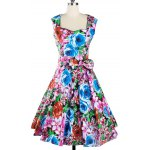 Retro Colorized Floral Sleeveless Sweetheart Neck Women's Dress