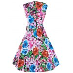 Retro Colorized Floral Sleeveless Sweetheart Neck Women's Dress for sale