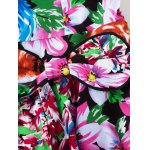 Retro Colorized Floral Sleeveless Sweetheart Neck Women's Dress photo