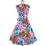 cheap Retro Colorized Floral Sleeveless Sweetheart Neck Women's Dress
