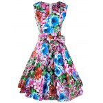 Retro Colorized Floral Sleeveless Sweetheart Neck Women's Dress deal