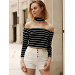 Chic Turtleneck Long Sleeve Striped Zippered Crop Top For Women for sale