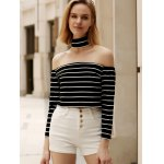 Chic Turtleneck Long Sleeve Striped Zippered Crop Top For Women deal