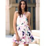 cheap Fashionable Halter Sleeveless Floral Print Backless Women's Dress