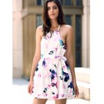 Fashionable Halter Sleeveless Floral Print Backless Women's Dress deal