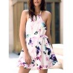Fashionable Halter Sleeveless Floral Print Backless Women's Dress