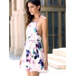 Fashionable Halter Sleeveless Floral Print Backless Women's Dress for sale