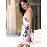 best Fashionable Halter Sleeveless Floral Print Backless Women's Dress