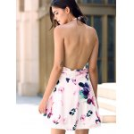 Fashionable Halter Sleeveless Floral Print Backless Women's Dress photo