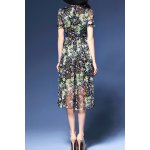 cheap Tiny Floral Print Stand Collar Dress