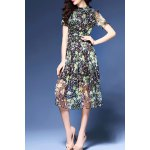 Tiny Floral Print Stand Collar Dress for sale