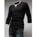 cheap Classic Color Block Triangle Pattern Slimming Round Neck Long Sleeves Men's Linen Blended T-Shirt