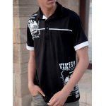 Buy Black Stylish Turn-down Collar Slimming Personality Totem Print Solid Color Short Sleeves Men's Polyester Polo Shirt-17.61 Online Shopping GearBest.com